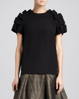 Fendi Layered Ribbon-Sleeve Top