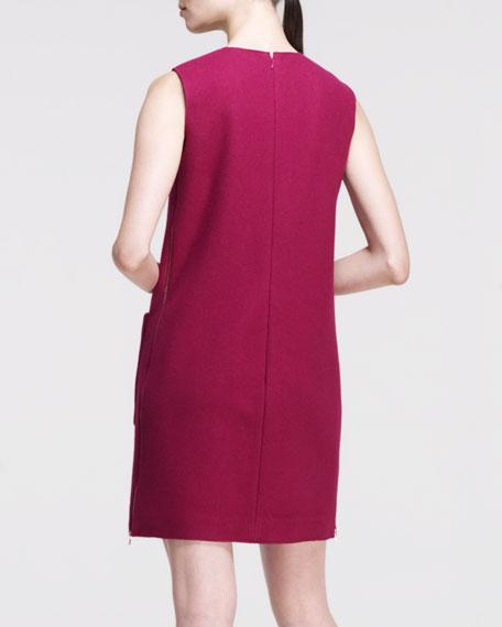 Brushed Patch-Pocket Shift Dress