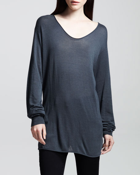 Long-Sleeve Rolled-Neck Jersey Tee