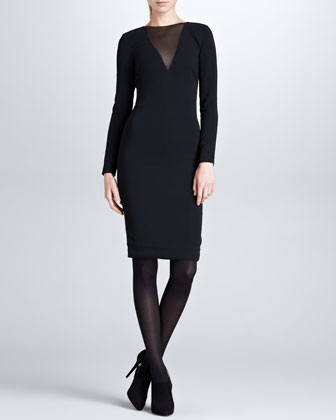 Nichola Plunging-Illusion Dress, Black