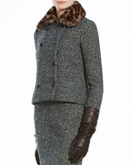 Gucci Boucle Jacket with Printed Mink Collar