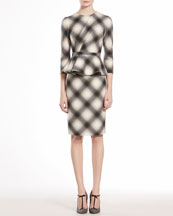 GUCCI Check Flannel Flounce Dress