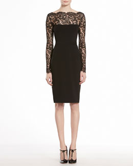 GUCCI Stretch Viscose Jersey with Lace Flowers Dress