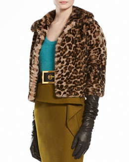 Gucci Jaguar Printed Mink Fur Cape