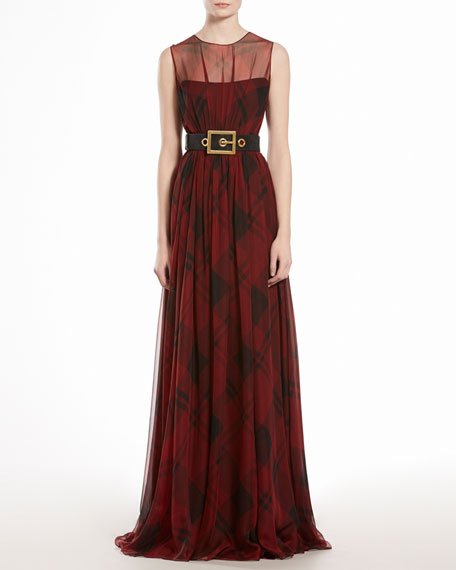 Check Printed Silk Chiffon Gown