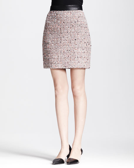 Leather-Waistband Tweed Skirt