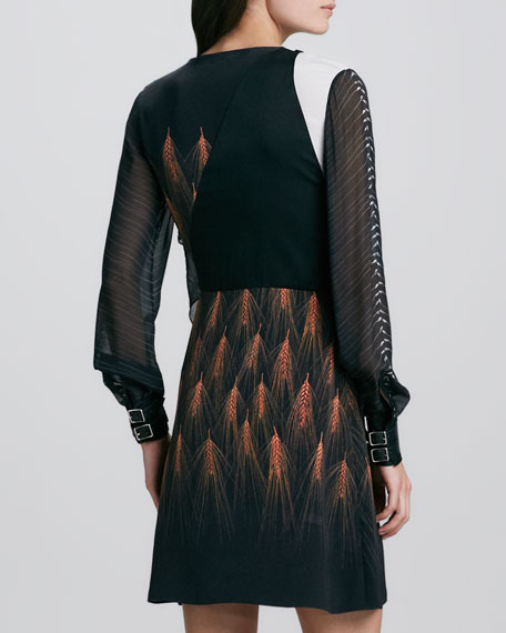 Draped Mixed-Print Long-Sleeve Dress