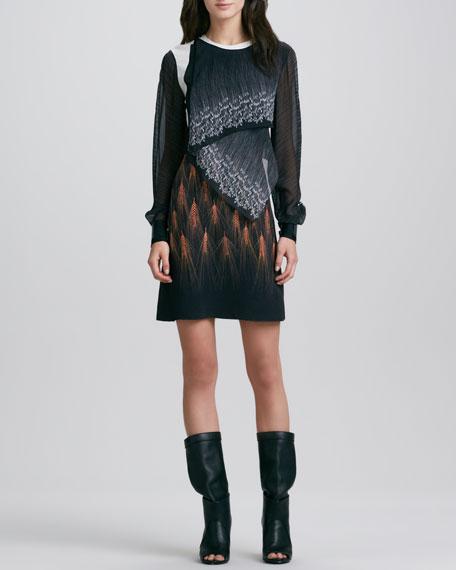 Draped Mixed-Print Long-Sleeve Dress
