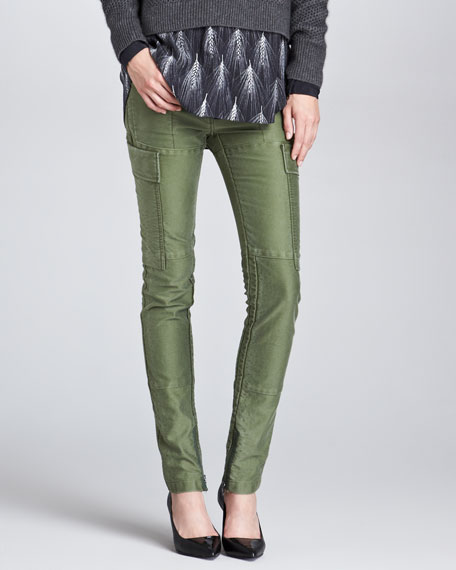 Skinny Patchwork Cargo Pants, Army Green