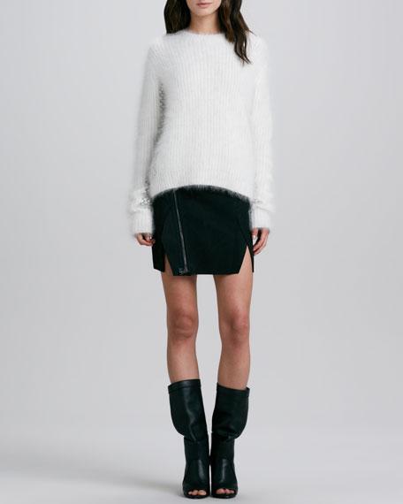 Leather Cross-Front Biker Skirt