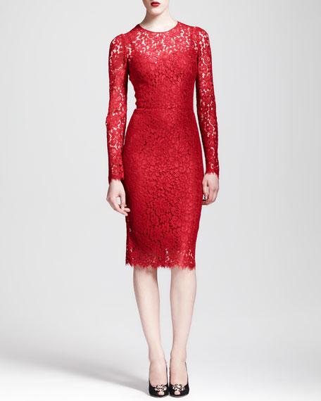 Long-Sleeve Lace Sheath Dress