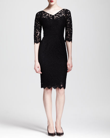 Half-Sleeve V-Neck Lace Dress
