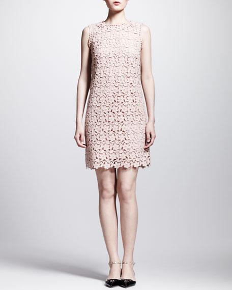 Sleeveless Floral Macrame Shift Dress