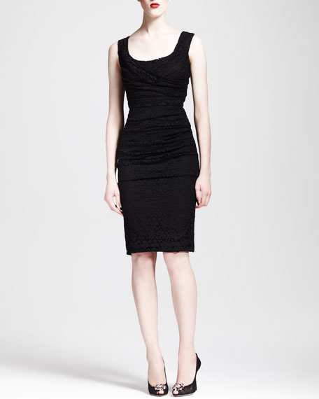 Ruched Scoop-Neck Lace Dress