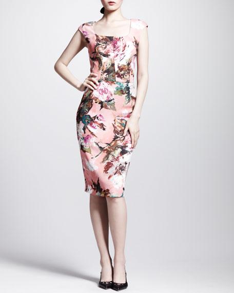 Floral Square-Neck Sheath Dress