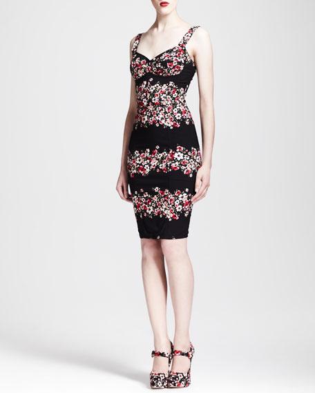Sweetheart Floral-Striped Sheath Dress