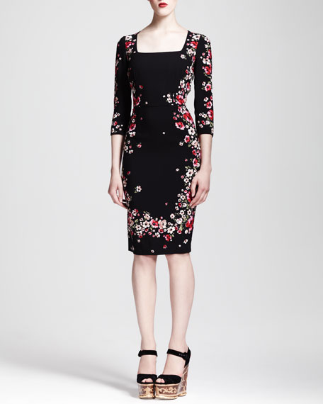 Square-Neck Floral Sheath Dress
