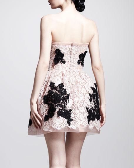 Strapless Full-Skirt Lace Dress