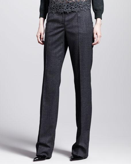 Straight-Leg Houndstooth Pants