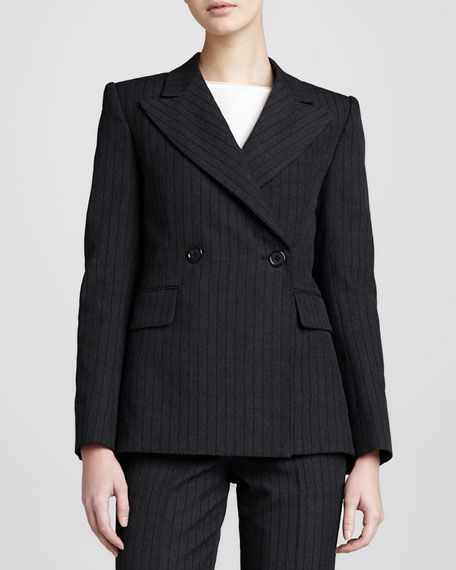 Pinstriped Blazer, Black