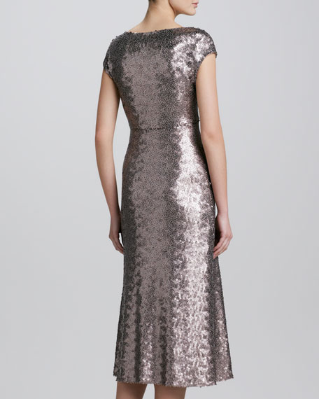 Brushed Metal Sequins Dress