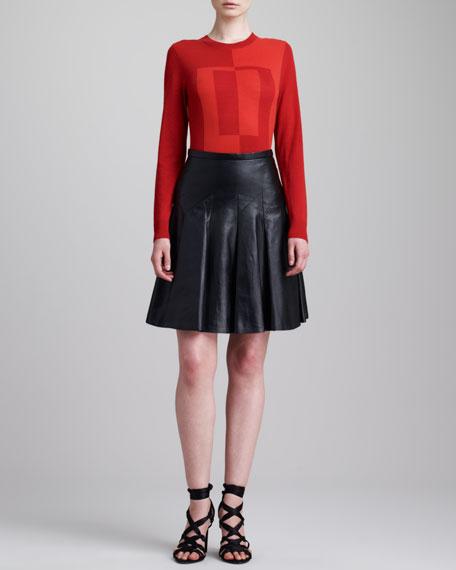 Lamb Leather Flounce Skirt, Black