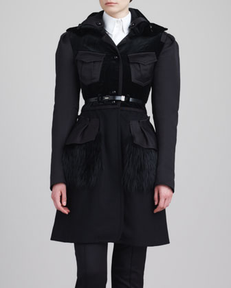 Fox Fur-Peplum Coat, Black
