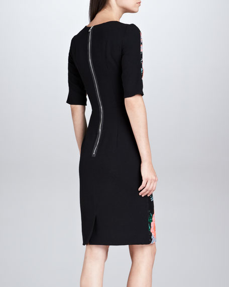 Floral Jacquard Half-Sleeve Dress, Black/Peach