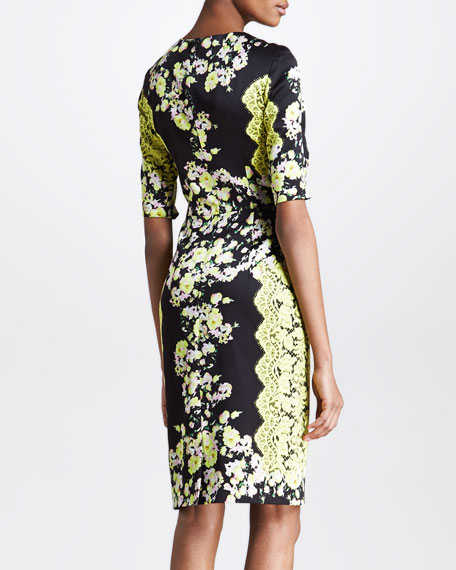 Floral-Print Half-Sleeve Sheath Dress