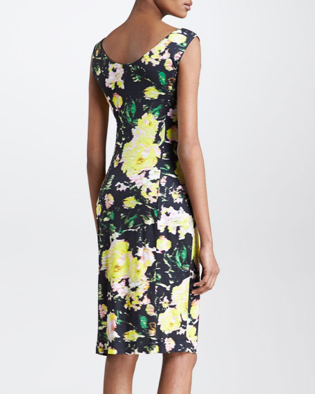 Fitted Floral-Print Sleeveless Dress