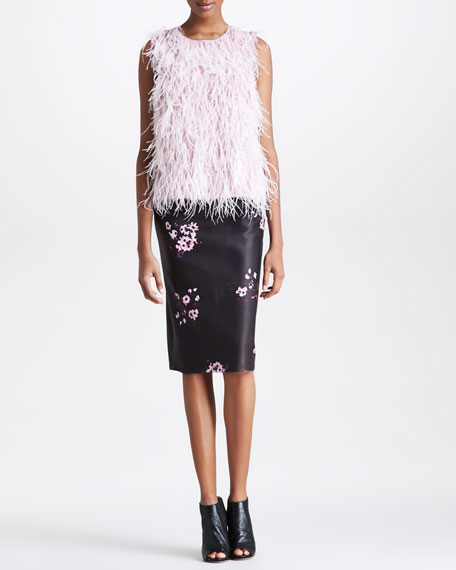 Floral-Print Leather Pencil Skirt, Black/Pink