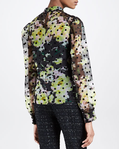 Dotted Floral-Print Chiffon Blouse