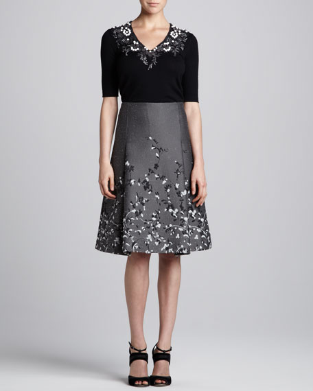 Floral-Embroidered Jacquard Skirt