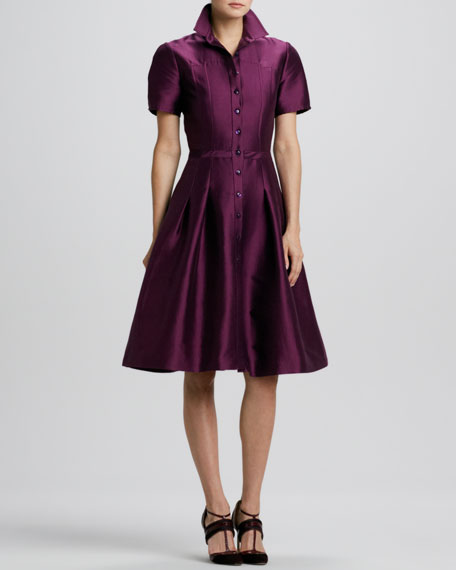 Full-Skirt Satin Shirtdress