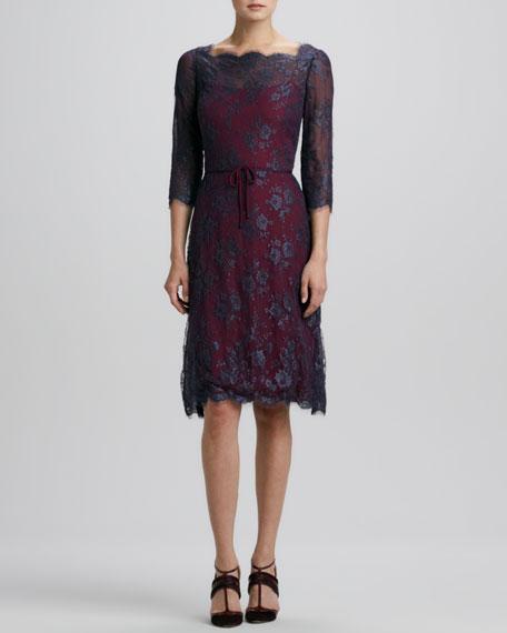 Button-Back Scalloped Lace Dress