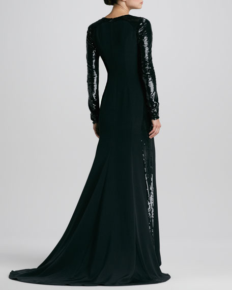 Sequined-Sleeve Silk Gown
