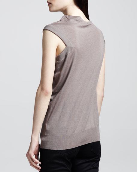 Asymmetric Draped Wool Top