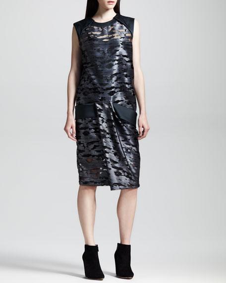 Cocoon-Back Metallic Muscle Dress, Geyser