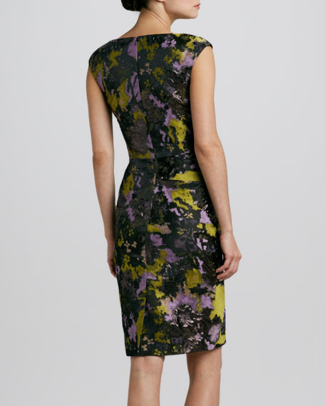 Cap-Sleeve Wrapped Brocade Dress