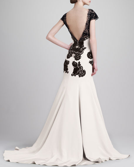 Cap-Sleeve Backless Lace & Cady Gown, Black/Ivory