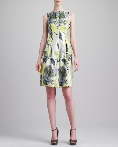 Floral Jacquard Boat-Neck Dress