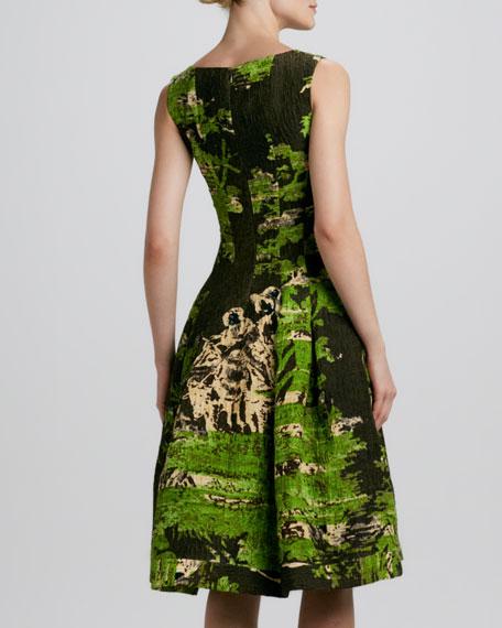 Sleeveless Painted-Toile Dress, Citrine