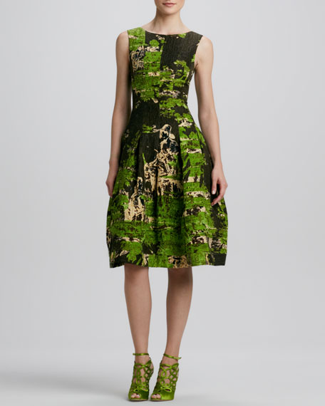 Sleeveless Painted-Toile Dress, Citrine