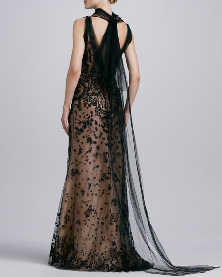 Beaded Tulle Trumpet Gown, Black/Nude
