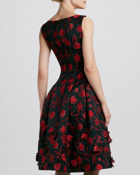 Floral-Embroidered Full-Skirt Dress, Black/Red
