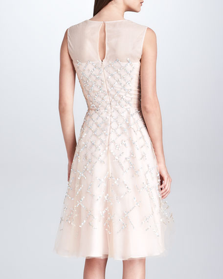 Lattice-Beaded Organza Illusion Dress, Ivory