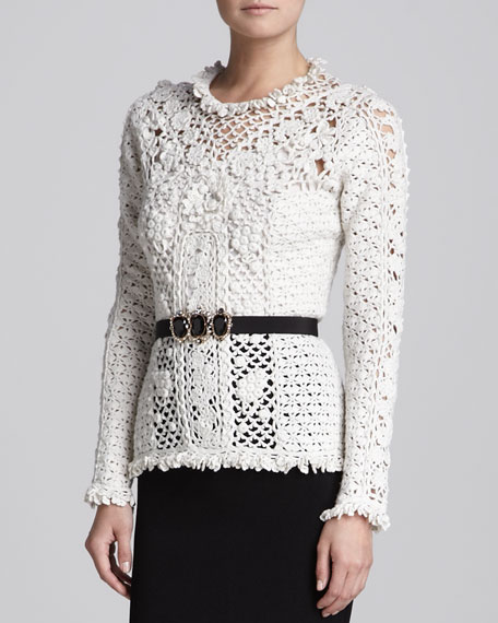 Cashmere Floral Crochet Pullover, Ivory