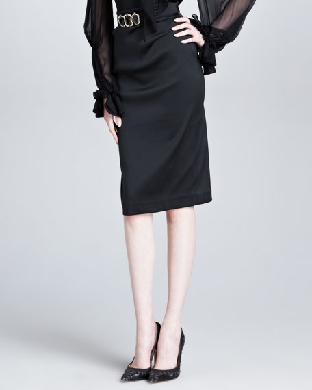 Duchess Satin Pencil Skirt, Black