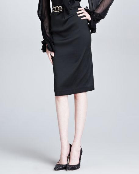 4a77d25997899b Oscar de la Renta Duchess Satin Pencil Skirt, Black