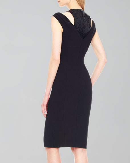 Sequin-Inset Crepe Dress